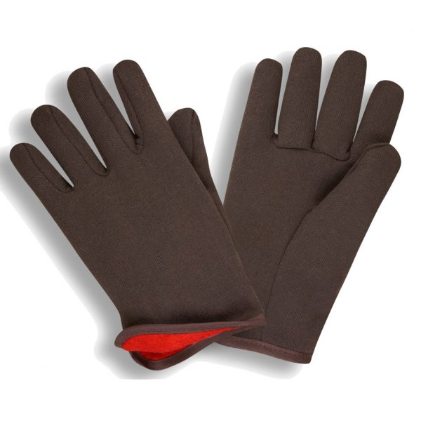 brown jersey glove with red fleece lining