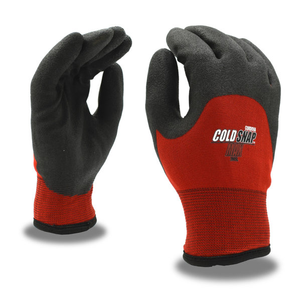 Cold snap thermal machine knit glove with PVC foam palm coating