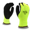 cold snap hi-vis lime thermal machine knit glove with black foam latex palm coating