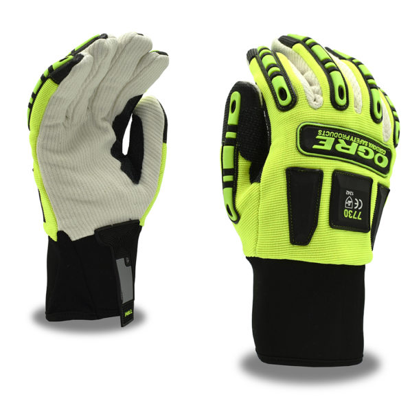 ogre thermal oil and gas glove with corded canvas palm and tpr and hipora