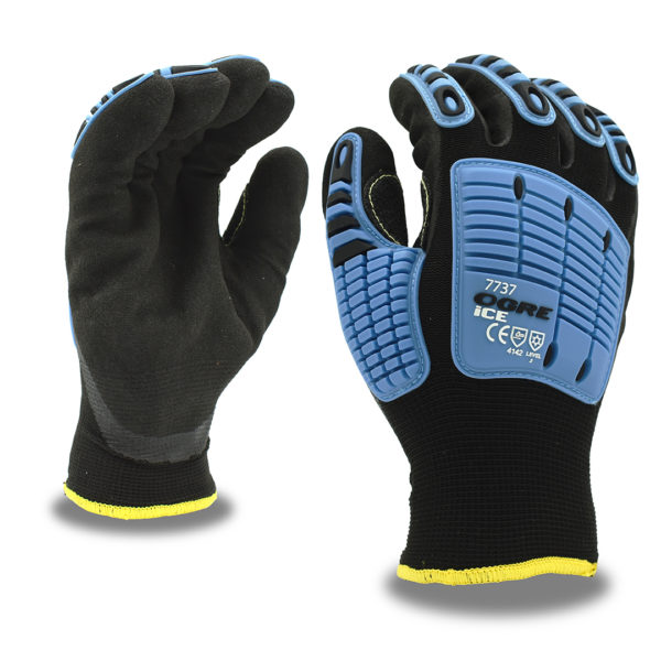 ogre ice thermal black oil and gas glove with sandy nitrile palm and tpr