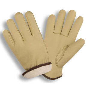 leather cowhide driver glove with insulated fleece