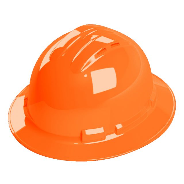 orange vented full brim hard hat