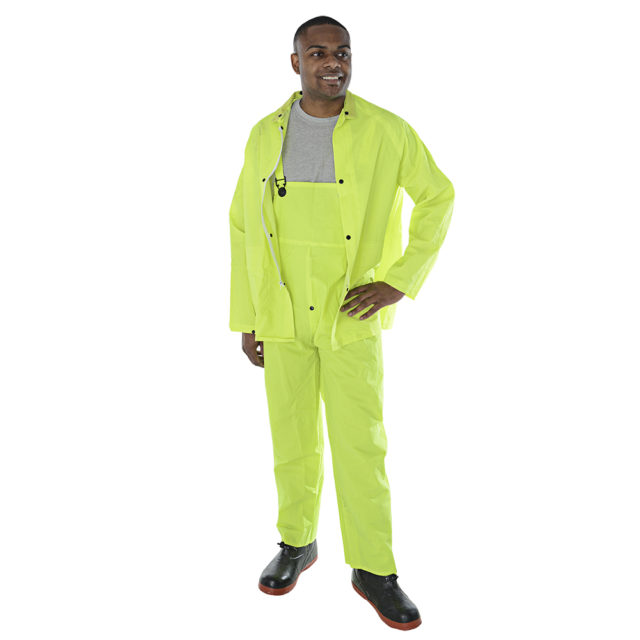 hi-vis lime rain suit with overalls