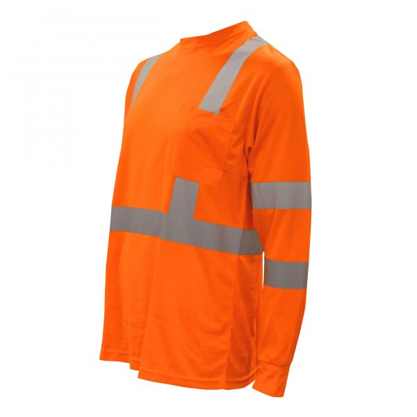cordova safety products hi-vis orange long sleeve t-shirt with reflective tape