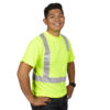 hi-vis lime t-shirt with reflective tape