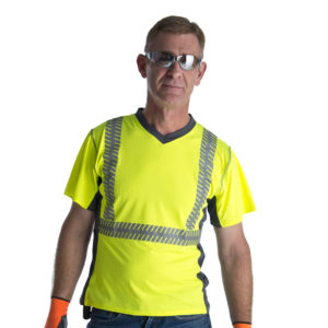 hi-vis lime t-shirt with v-neck and reflective tape