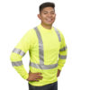 hi-vis lime long sleeve t-shirt with reflective tape