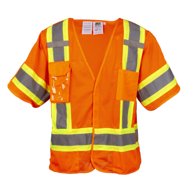 hi-vis orange breakaway safety vest with sleeves