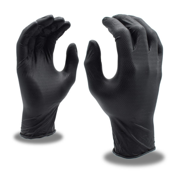 black disposable nitrile gloves with z-tread