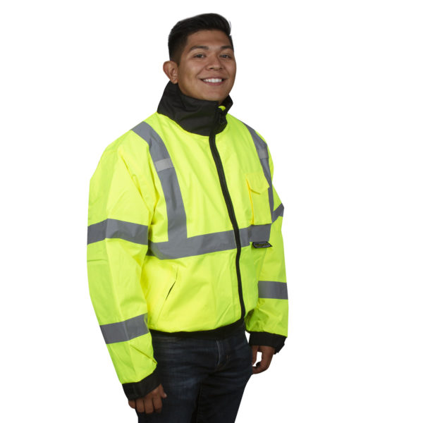 hi-vis lime bomber jacket with reflective tape