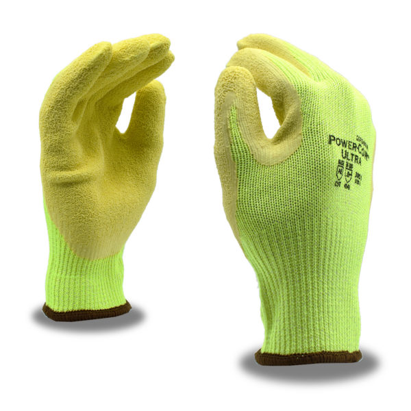 power-cord hi-vis cut resistant a6 glove with crinkle latex palm