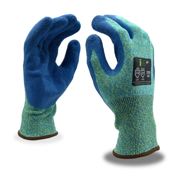ion green cut resistant a4 glove with blue sandy nitrile palm