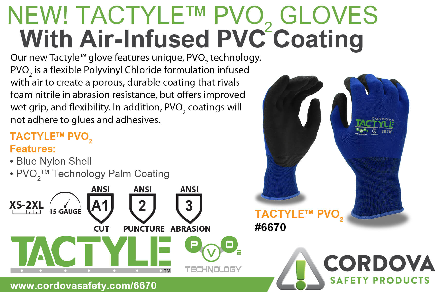 6670 Gloves with Air Infused PVC Coating
