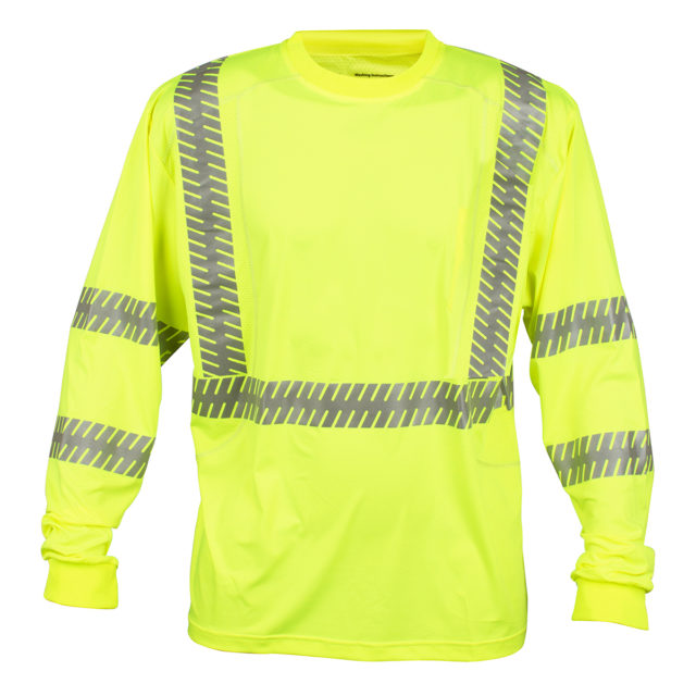 hi-vis t-shirt with segmented reflective tape