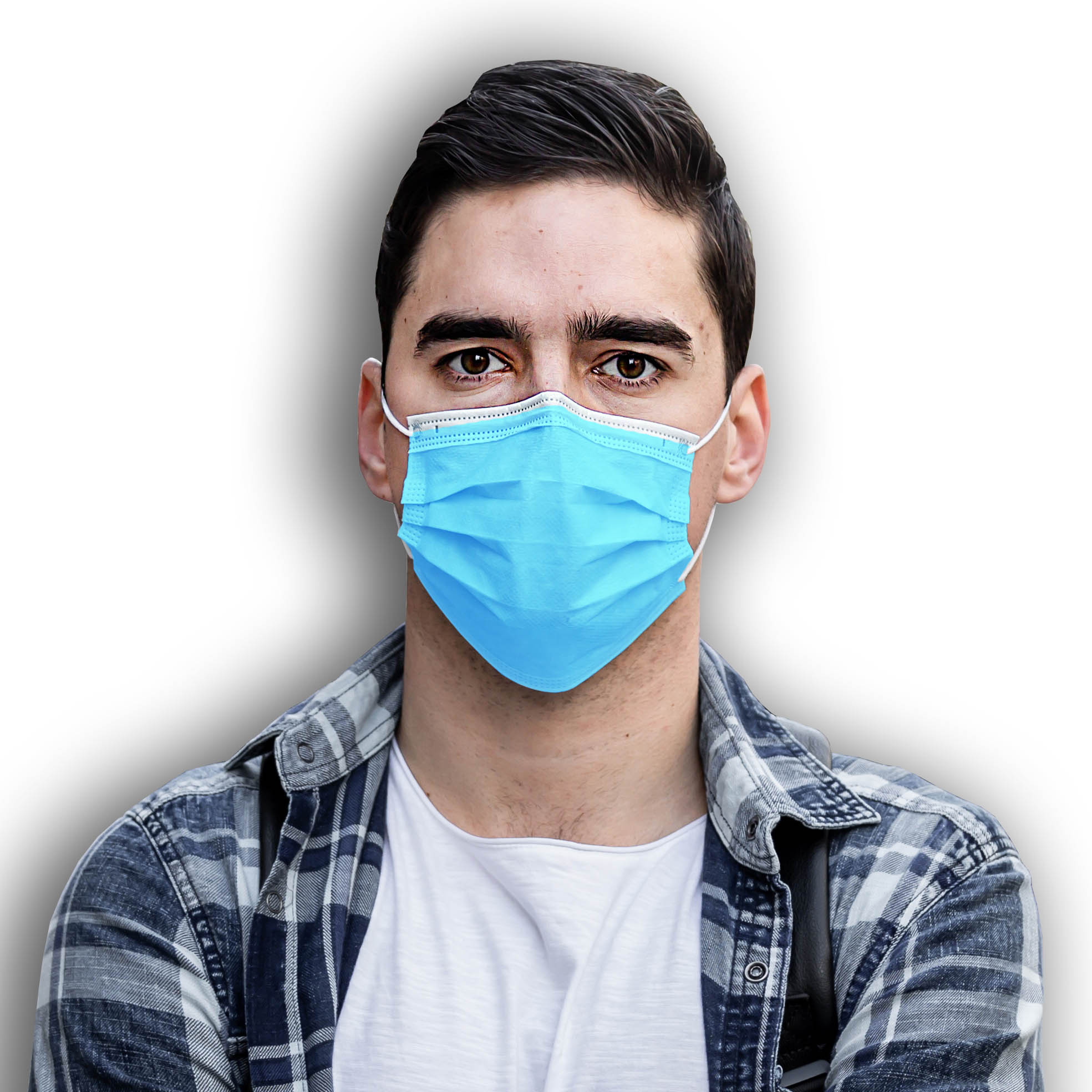 A close-up portrait of a pretty female doctor or nurse wearing a surgical protective face mask isolated on a white