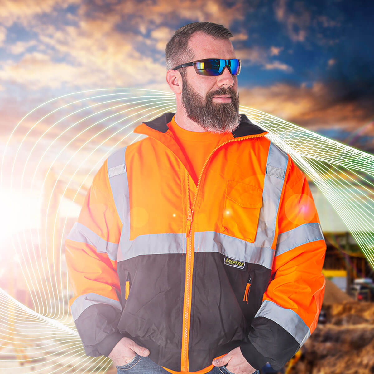 Cordova safety products safety glasses model with hi-vis jacket